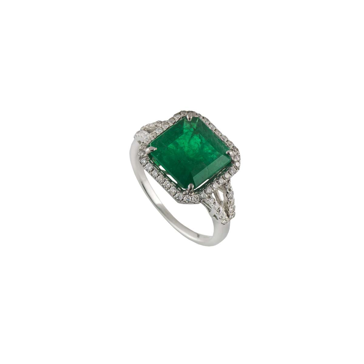 18k White Gold Emerald and Diamond Dress Ring 3.72ct